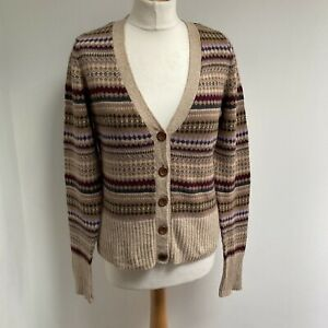 H&M Cardigan Size Small Fair Isle Brown Tones V Neck Land Girl 1940s Style