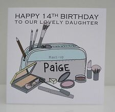 Personalised Birthday Card Girls Make Up 13th 14th 16th 18th 21st 30th Any Age