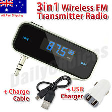 3.5mm Wireless Car FM Transmitter Radio & USB Charger For iPhone 5 6S 7 Samsung