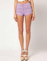 Womens Girls New size 8 - 20 New stretch denim shorts hotpant Coral Lilac White