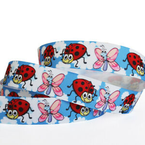 """2/5/10/50Y 7/8""""22mm Blue Sky&Red Beetle Butterfly Printed Pattern Ribbon Craft"""