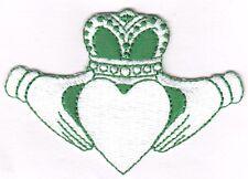 IRISH CLADDAGH, GREEN & WHITE- ST. PATRICK'S DAY, SHAMROCK, LUCKY-Iron On Patch
