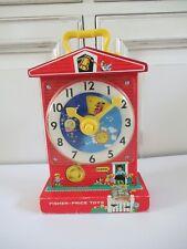 👿 Ancien Jouet L'horloge Musicale Fisher Price Music Box Teaching Clock Réf 998