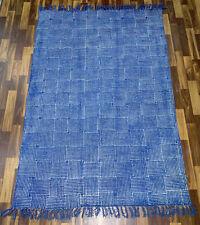 9x12.ft Indigo Rug Blue Rug Cotton Handmade Dari Large Rug Floor Rug Woven Rug