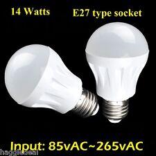 E27 14W 120vAC PURE WHITE LIGHT BULB FIRE RESISTANT ULTRA BRIGHT 85v~265vAC