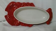 """Hall CHINESE RED Open Casserole 10"""" Lobster Shape Dish"""