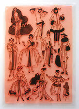 Clear Stamps Sheet 20x27cm ~ Vintage Fashion Belle Epoque FLONZ Rubber 403-128
