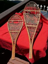"Vintage Pair Cross Country WOODEN SNOWSHOES TUBBS Wallingford VT 48"" x 14"""