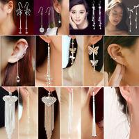Women Cocktail crystal Rhinestone Long Tassels Drop Hook Dangle Linear Earrings