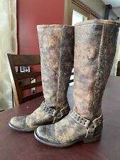 FRYE WOMEN'S HARNESS TALL DISTRESSED LEATHER RIDING BOOTS ZIPPERED BROWN SZ 8-B