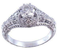 14k White Gold Round Cut Diamond Engagement Ring Antique Style Art Deco 1.35ctw