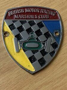 BRITISH MOTOR RACING MARSHALS CLUB ENAMEL CHROME CAR BADGE EMBLEM MEMBER