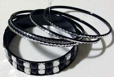 BANGLE SET - Biker Style - Black and Silver - 5 piece - BNWT