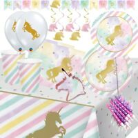 Unicorn Pastel Sparkle Party Supplies Tableware, Balloons, Decorations, Banner