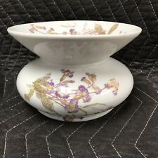 Vintage White Ceramic Ladies Spittoon with violet flowers Unique vase