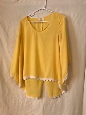 Umgee USA Top Size S Long Sleeve Slouchy Sheer Blouse Yellow
