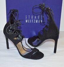 New $498 Stuart Weitzman LEGWRAP Black Goose Bump Nappa Leather Heel Wrap sz 6
