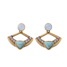 Capri Convertible Ear Jackets Earrings Turquoise Drops Or Opalescent Studs CI