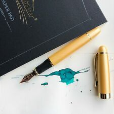 JINHAO X450 Sand Gold 18k Gold Plated Trim Fountain Pen Fine Nib