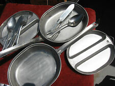 Prepper Mess kit US ARMY USMC 3 utensils pan plate LOT of TWO complete kits.