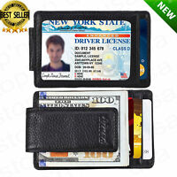 Front Pocket Wallet Money Clip Leather RFID Blocking ID Credit Card Slim Holder