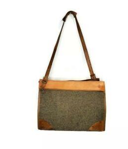 "Vtg Hartmann 17"" Leather Tweed Shoulder Bag Suitcase Overnight Tote Carry On Tan"