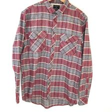 Quicksilver Mens Shirt Large Modern Slim Fit Plaid Flannel Long Sleeve Red Gray