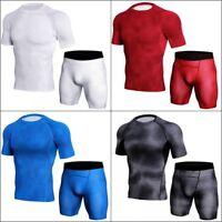 Men's Sports Apparel Skin Tights Running Gym Compression Base T-shirt Shorts Set