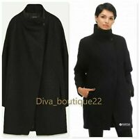 Zara Black Wool Buttoned High Collar Coat New with tags Free P&P RRP £90
