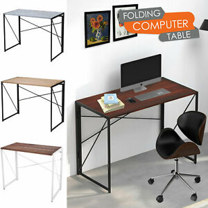 Folding Computer Desk Wooden Foldable Study Table Laptop Home Office PC
