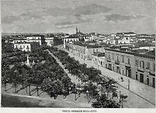 Foggia: Panorama. Grande Veduta. Puglia. Stampa Antica + Passepartout. 1894