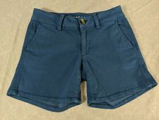 AMERICAN EAGLE OUTFITTERS Womens Blue Mid Rise Khaki Super Stretch Shorts sz 00