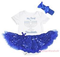 My First Hanukkah Candle White Bodysuit Blue Bling Sequin Girl Baby Dress NB-18M