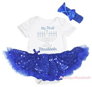 My First Hanukkah Candle White Bodysuit Blue Bling Sequin Girl Baby Dress NB-18M