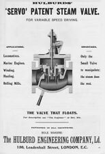 HULBURD ENGINEERING COMPANY Servo Patent Steam Valve - Antique Advert 1909