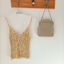 Vintage sequin Crotchet Stretch Rave top gold by Best Nightlook  Perfect conditi