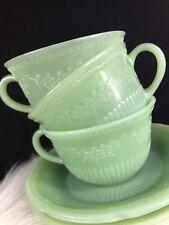 Anchor Hocking Fire King Jadeite Alice Floral Cups & Saucers Mug Floral Lot 3