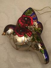"""Stained Glass Look Bird Christmas Ornament Embellished Beautiful 4"""" Holiday"""