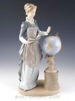 Lladro Tall Figurine SCHOOL MARM LADY WOMAN TEACHER WITH GLOBE 5209 Retired Mint