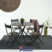 Set of 5 Modern Round Dining Table w/ 4 Folding Chairs Simple Life Wooden Brown