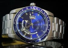 NEW INVICTA MEN SPECIALTY BLUE DIAL STAINLESS STEEL CASE/BRACELET W/ DAY & DATE