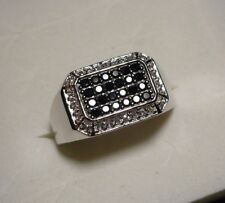 Sparkly! Mens Black Spinel & White Zircon Ring Sz.14 54 gems 1.25tcw Msrp$623