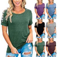 Women Summer Casual Short Sleeve Tops Crew Neck Loose Leopard T Shirt Blouse