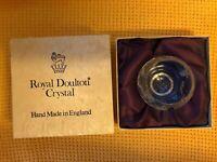 Vintage Royal Doulton Sweet Bowl Flower Engraved Crystal In Original Silk Box