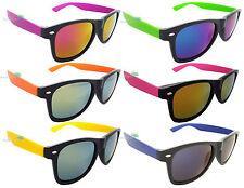 Mens Ladies Sunglasses Spectrum Lens Black Frame Colour Arm Dark Retro 80s UV400