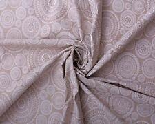 LINEN LOOK COTTON WHITE MANDALA GEOMETRIC AZTEC PRINT CUSHION CRAFT FABRIC