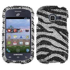 Samsung Galaxy Discover S730G Crystal Diamond BLING Case Phone Cover Zebra