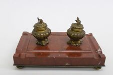 Antique Gilt Bronze & Marble Inkwell