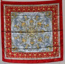 pierre balmain foulard vintage 93 cm scarf poly fleurs modele francois 1er rouge