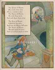 Queen Of Hearts-Tarts-King-Mother Goose-1912 OLD ANTIQUE VINTAGE COLOR ART PRINT